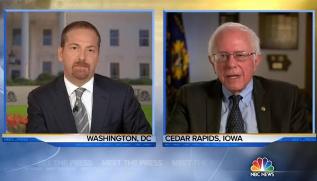 "U.S. Sen. Bernie Sanders, I-Vt., takes questions from ""Meet the Press"" host Chuck Todd on Aug. 16, 2015, about his Democratic presidential bid. (Screengrab of NBC video)"