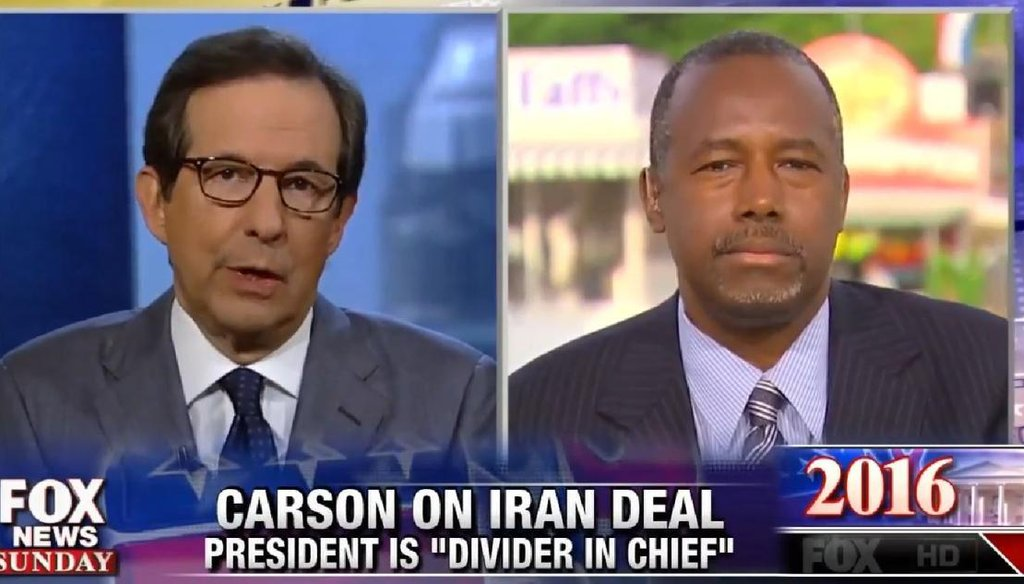 """GOP presidential candidate and former neurosurgeon Ben Carson explains his views on tax policy to """"Fox News Sunday"""" host Chris Wallace on Aug. 16, 2015."""