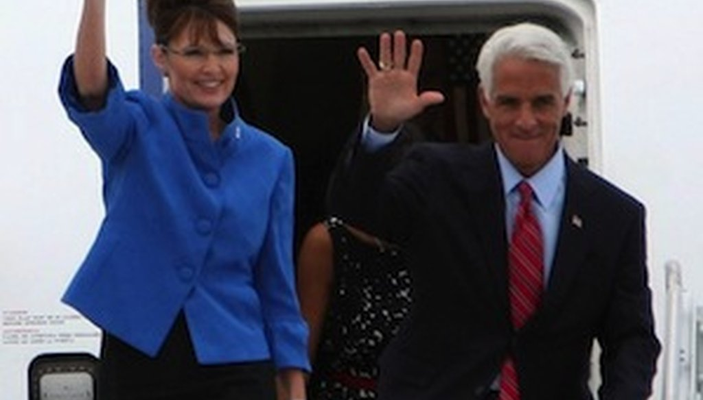 Sarah Palin and Charlie Crist campaign together in Florida in 2008. She was the vice presidential nominee; he was governor of Florida.