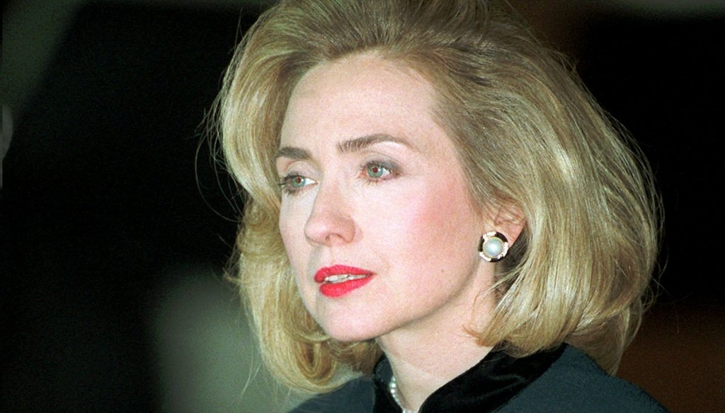 First Lady Hillary Clinton talks to reporters on Jan. 26, 1996 after testifying before a grand jury investigating Whitewater. (AP photo)