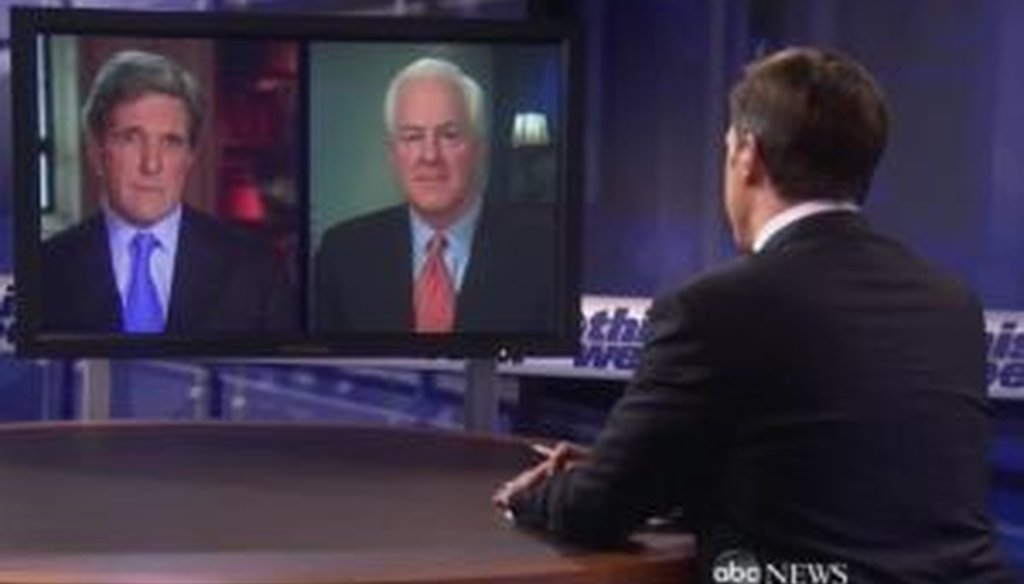 Sens. John Kerry and John Cornyn appeared on Sunday's edition of 'This Week.'