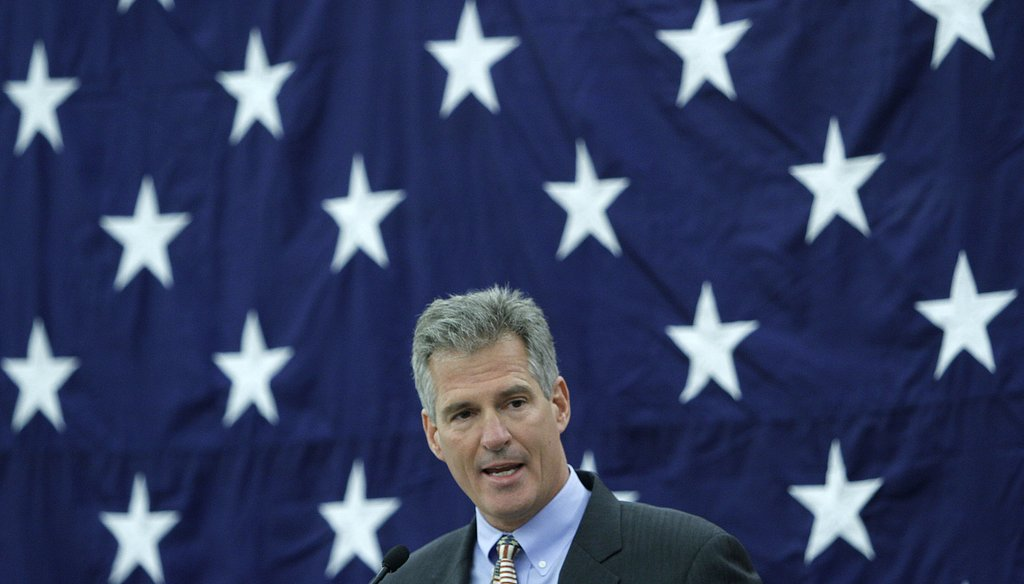 Sen. Scott Brown makes remarks at the Republican Leadership Conference at the Crowne Plaza in Nashua Friday, March 14, 2014. Photo by Don Himsel