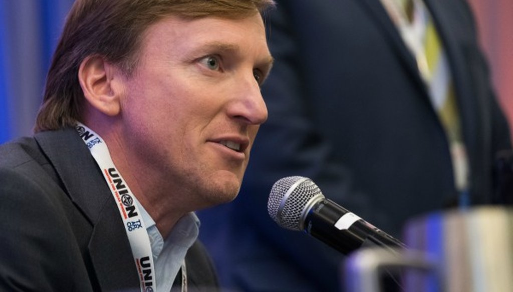 Andrew White, speaking here to the Texas AFL-CIO in January 2018, has said Texas schools rank 43rd nationally. MOSTLY TRUE, we found (photo by Mark Matson for the Austin American-Statesman).