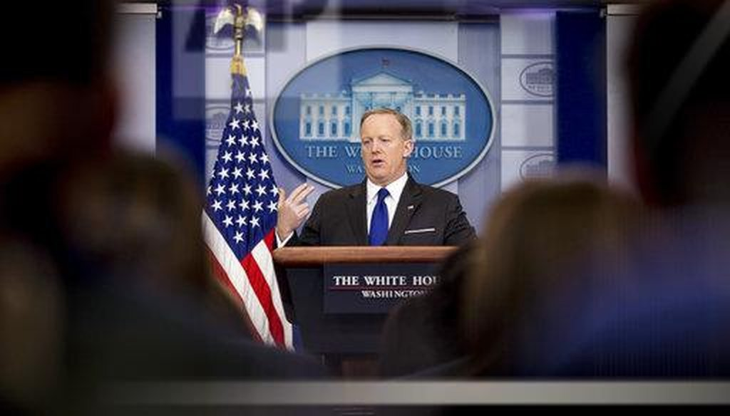 White House Press Secretary Sean Spicer fields reporter's questions during a press briefing / Credit: Associated Press