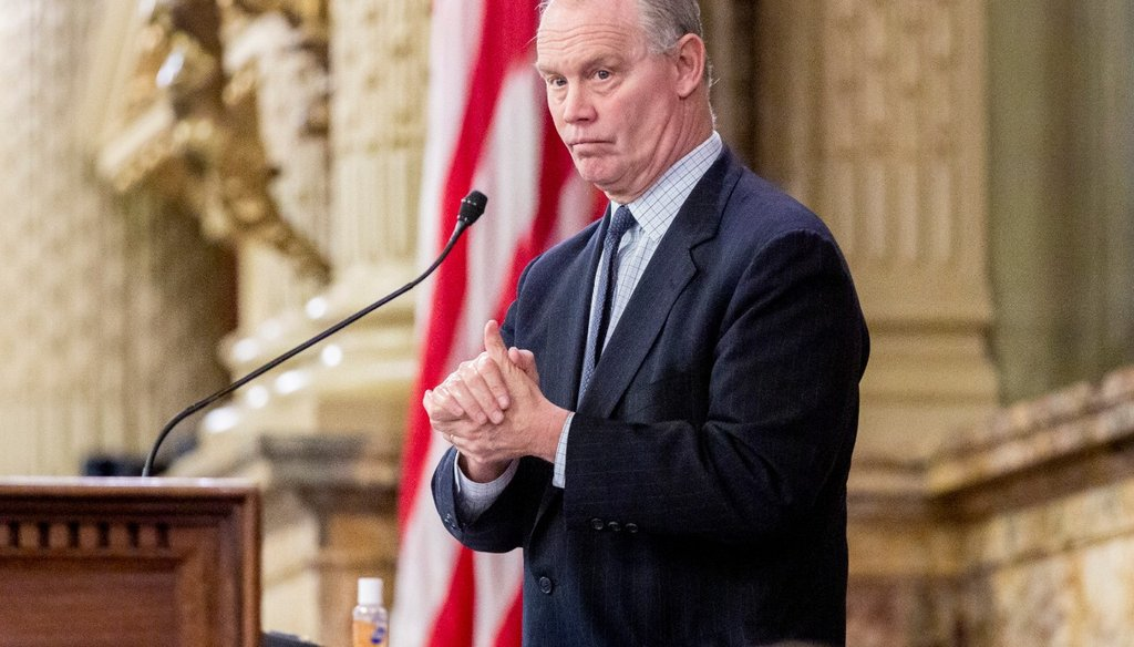 State Speaker of the House Mike Turzai, R-Allegheny County, uses some hand sanitizer during a legislative session, Tuesday, March 24, 2020, at the Capitol in Harrisburg, Pa. (Joe Hermitt/The Patriot-News via AP)