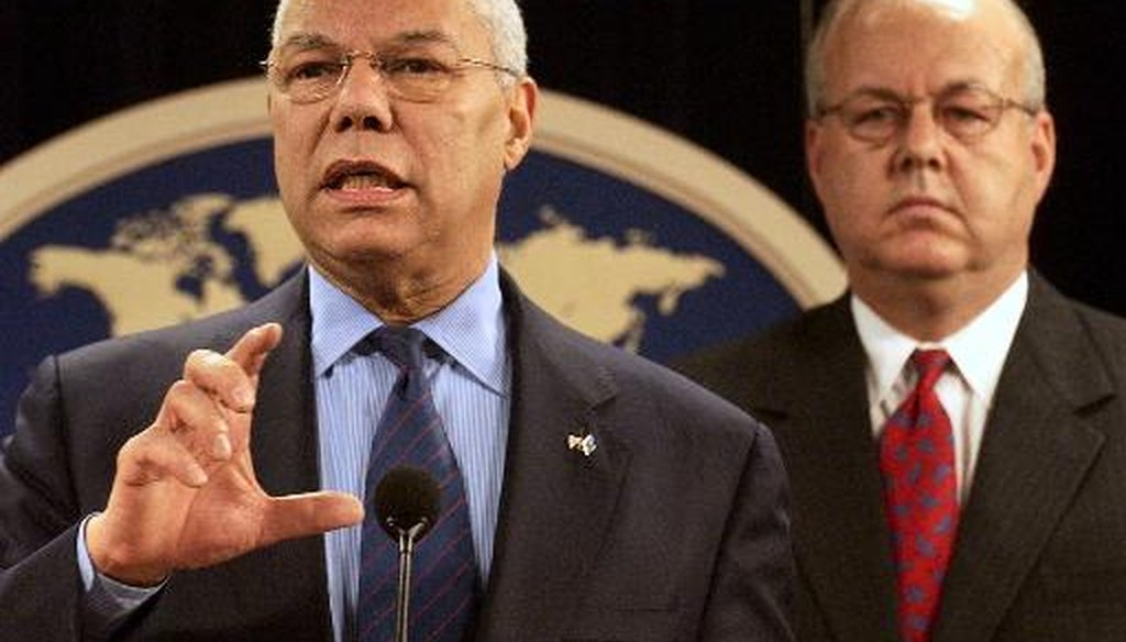 J. Cofer Black, then-State Department coordinator for counterterrorism, joins Secretary of State Colin Powell at a State Department press conference on June 22, 2004. (AP)