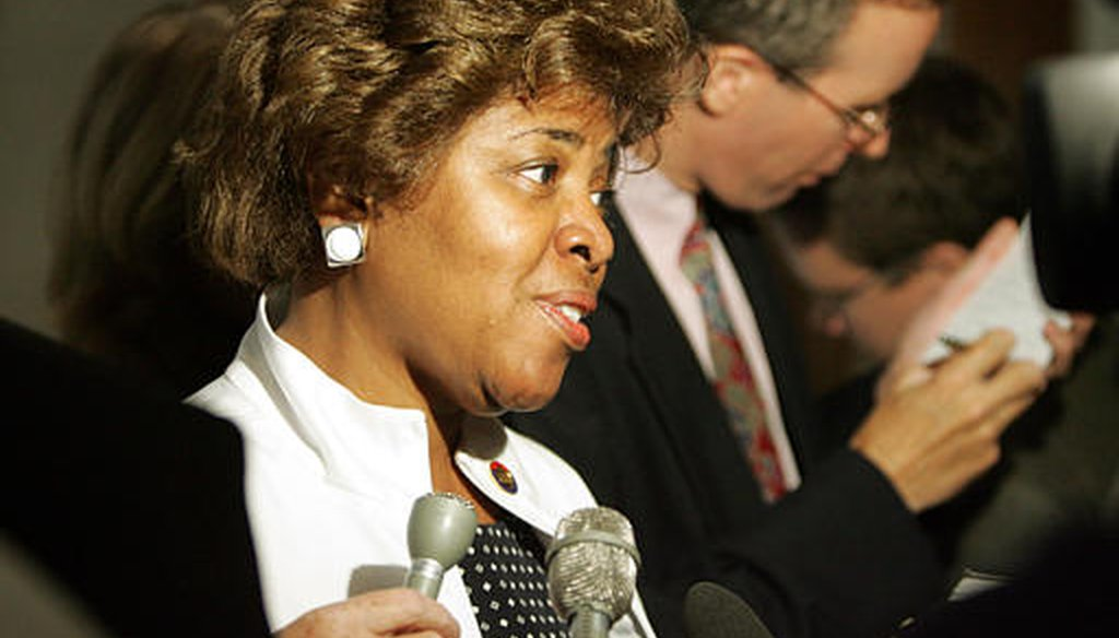 Linda Coleman speaks to the media in 2005 while a member of the state legislature. (AP/Gerry Broome)