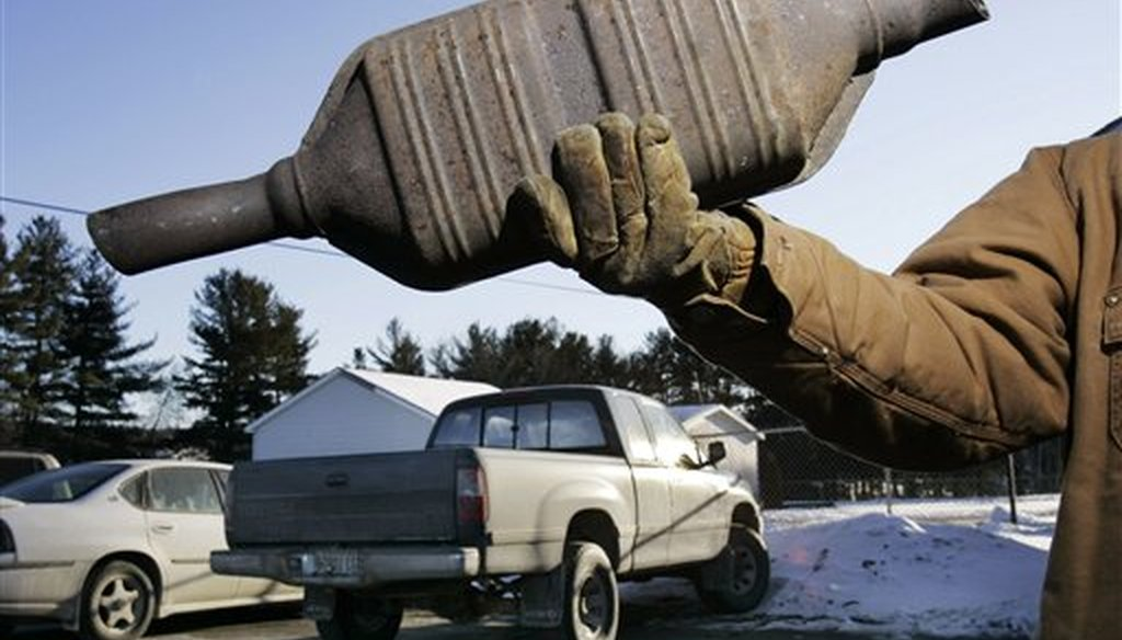 A catalytic converter at Industrial Metal Recycling, in Oakland, Maine. (AP)