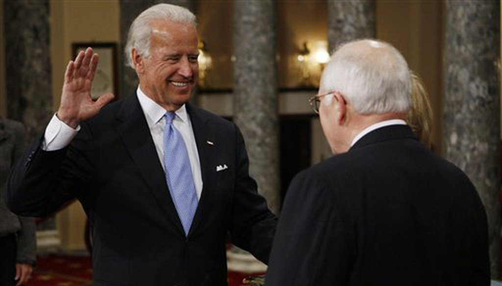 Then-Vice President Dick Cheney, right, administers the Senate oath to Vice President-elect Joe Biden during a ceremonial swearing-in, Jan. 6, 2009, on Capitol Hill. (AP)
