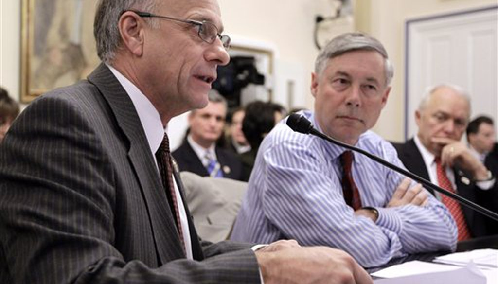 GOP Reps. Steve King (left) and Fred Upton testify before a House committee meeting in 2011 to discuss legislation to repeal the Affordable Care Act.