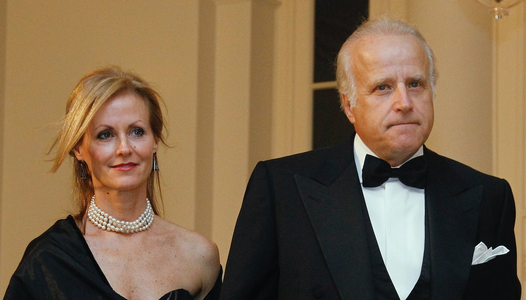 In this file photo, James and Sara Biden arrive at the White House Oct. 13, 2011, to attend the State Dinner for South Korea.