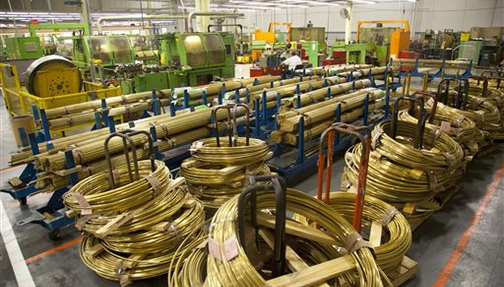 Coils of brass inside the Master Lock Co. in Milwaukee, Wis., in a 2012 file photo. (AP/Jeffrey Phelps)