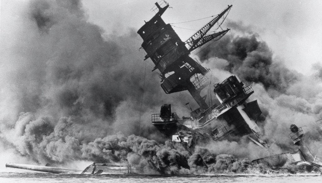 Smoke rises from the battleship USS Arizona as it sinks during a Japanese surprise attack on Pearl Harbor, Hawaii. The last time the federal government imposed martial law was in Hawaii in 1941 after the attacks. (AP)