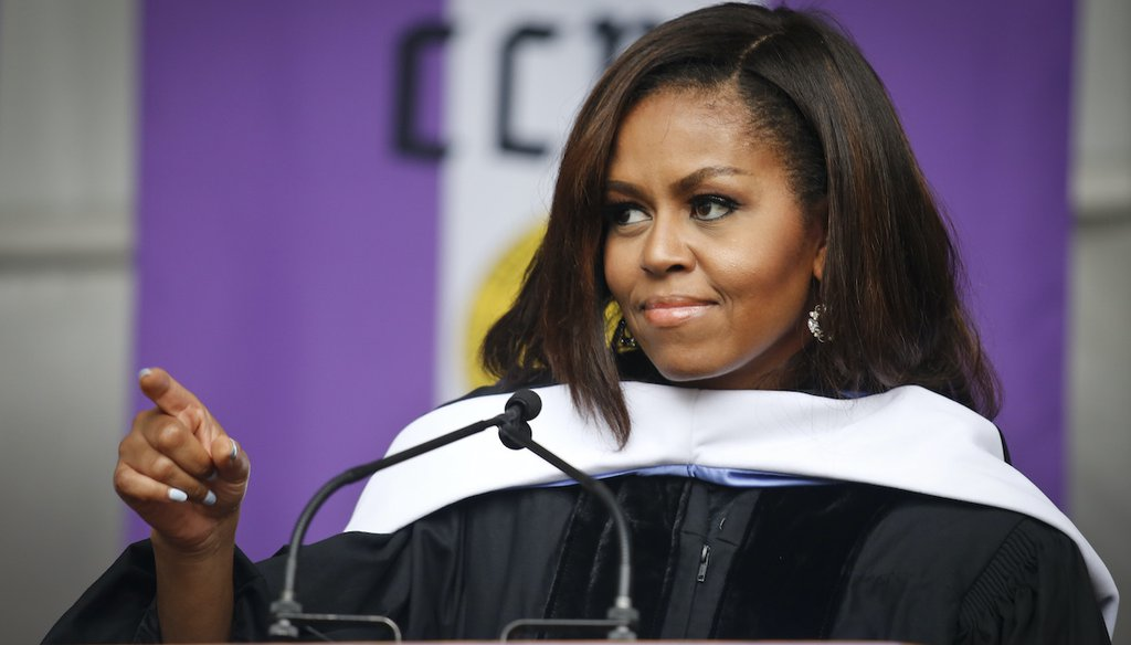Michelle Obama addresses the class of 2016 in her final commencement speech as first lady, June 3, 2016, at City College, part of the City University of New York. (AP)