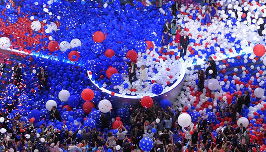 Balloons fall during the final day of the Democratic National Convention in Philadelphia on July 29, 2016. (AP)