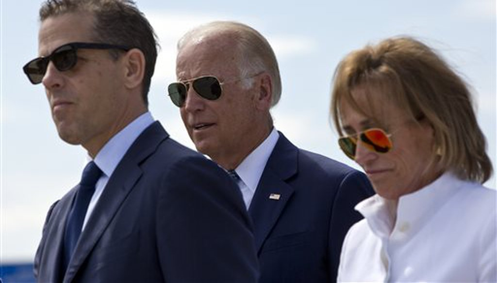 U.S. Vice President Joe Biden, center, son Hunter Biden, left, and his sister Valerie Biden Owens, right, at a ceremony in Sojevo, Kosovo, Aug. 17, 2016.(AP)