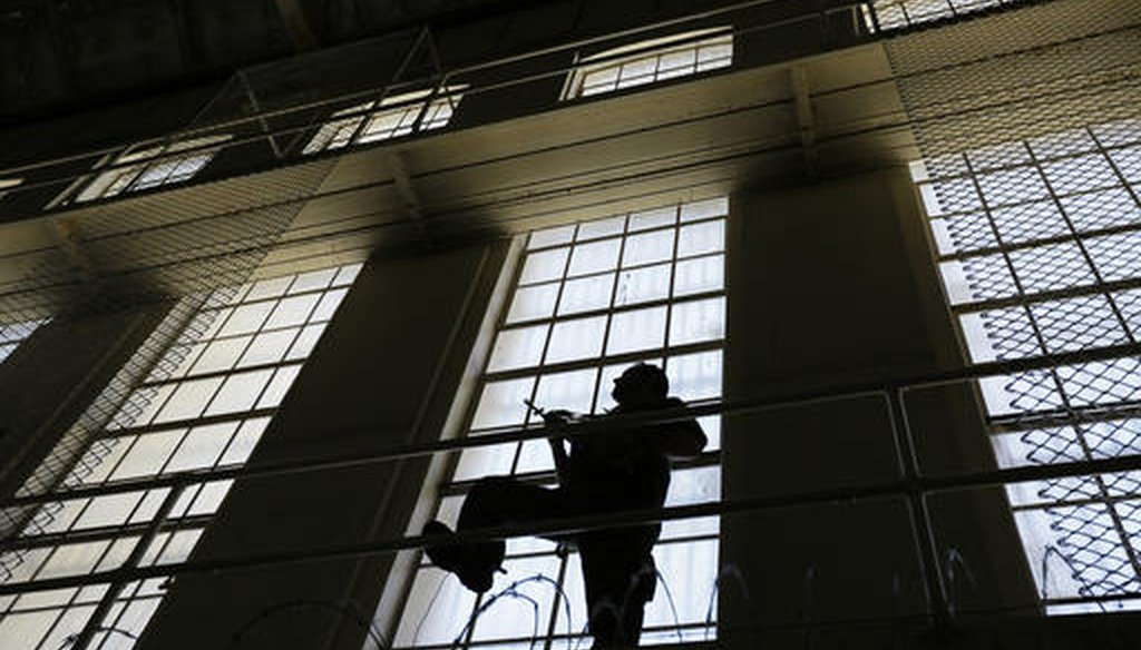 A guard keeps watch on the east block of death row at San Quentin State Prison in San Quentin, Calif., on Aug. 16, 2016. (AP)
