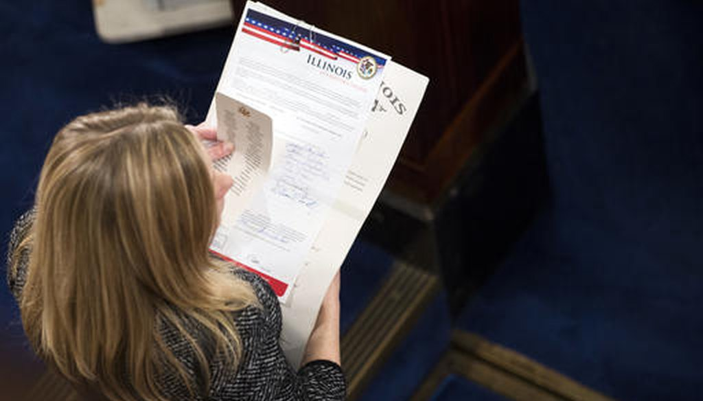 An Electoral College ballot from Illinois during a joint session of Congress to count electoral votes on Jan. 6, 2017. (AP)