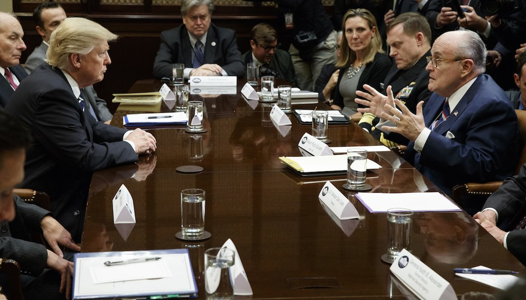 Former New York Mayor Rudy Giuliani speaks to President Donald Trump during a meeting on cyber security at the White House on Jan. 31, 2017. (AP)