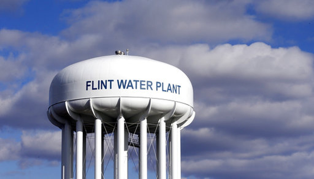 The Flint Water Plant water tower in Flint, Mich., on March 21, 2016. (AP/Carlos Osorio)