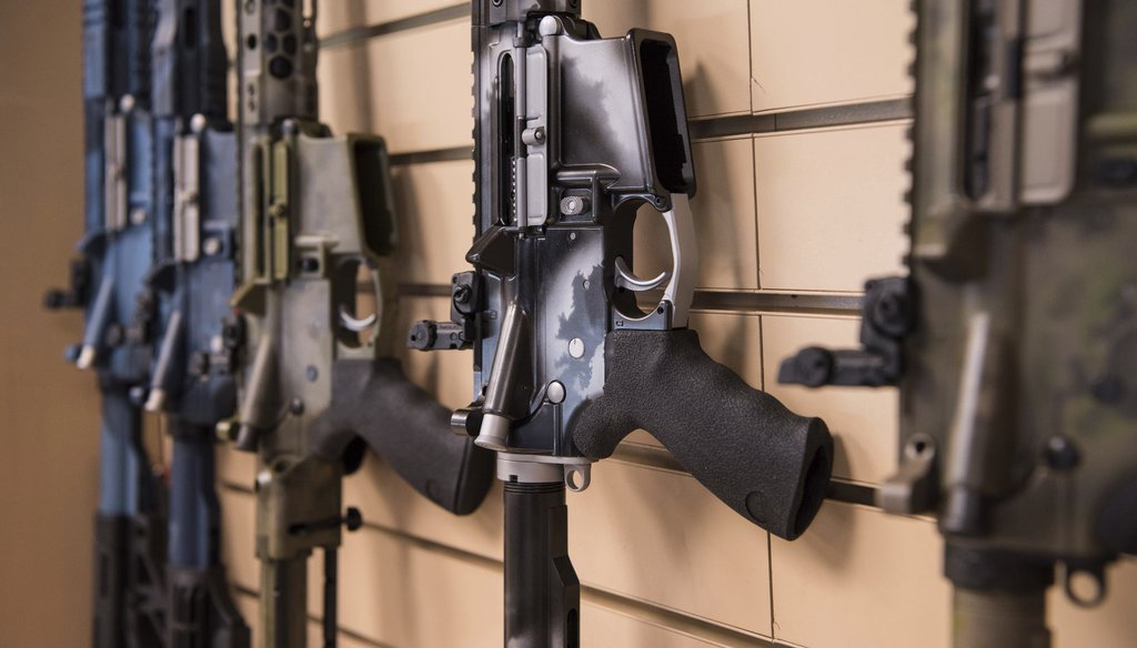 In this photo taken March 15, 2017, AR-15 style rifles made by Battle Rifle Co., a gunmaker in Webster, Texas, are on display in its retail shop. (AP)