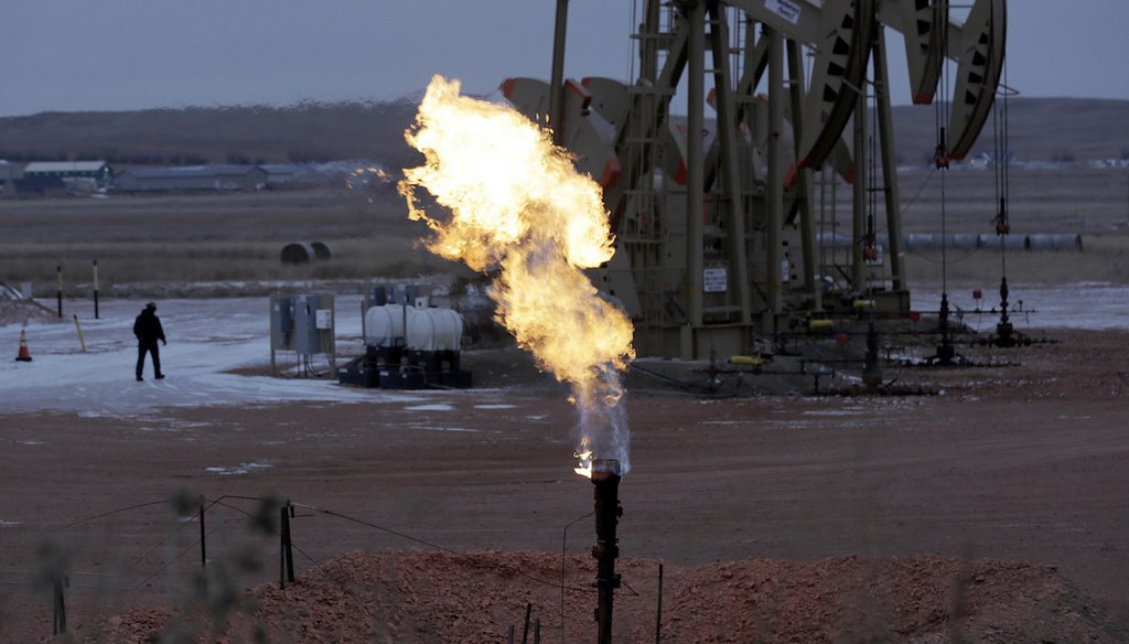 A natural gas flare near Watford City, N.D.