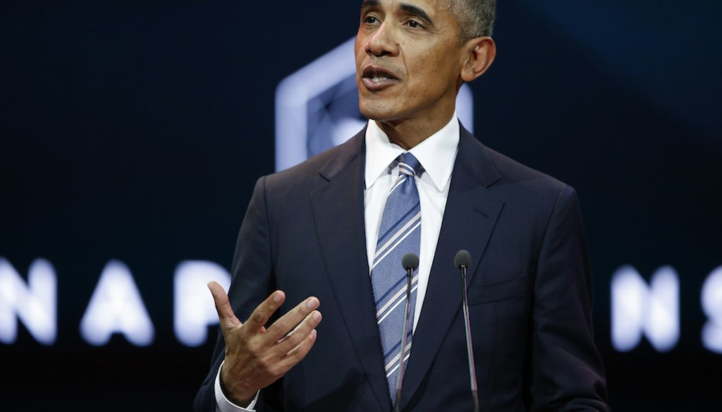 Former president Barack Obama gives a speech in Paris, France on December 2, 2017. (Associated Press)