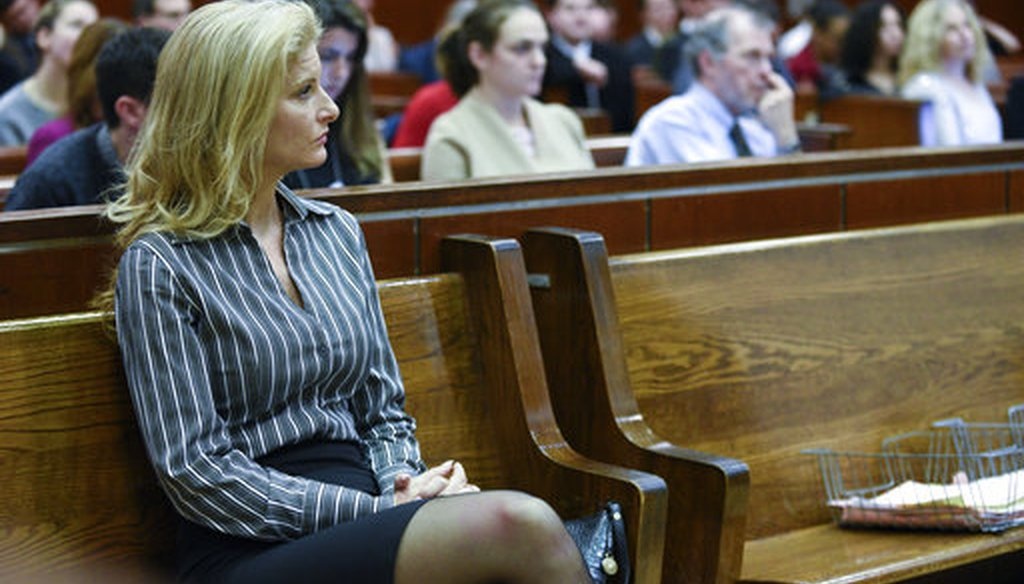 Summer Zervos appears at a hearing in Manhattan State Supreme court for a defamation lawsuit filed by Zervos against President Donald Trump, on Dec. 5, 2017 in New York. (NY Daily News/Barry Williams, Pool)