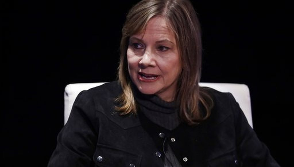 General Motors Chairman and CEO Mary Barra is interviewed by Cox Automotive's Michelle Krebs during an Automotive Press Association event on Dec. 11, 2017, in Detroit. (AP)