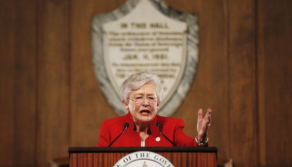 Alabama Gov. Kay Ivey, accused of funneling $1 million to a liberal activist organization, delivers the annual State of the State address at the Capitol, in Montgomery, Ala., on Jan. 9, 2018.