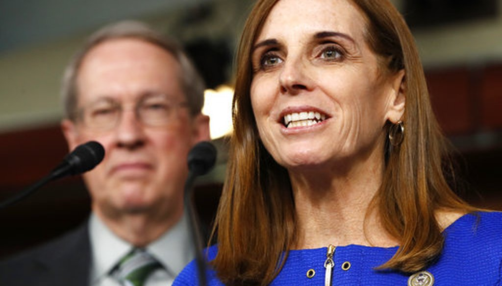 Jan. 10, 2018 file photo, House Homeland Security Border and Maritime Security Subcommittee Chairwoman Rep. Martha McSally, R-Ariz. (AP Photo/Jacquelyn Martin, File)