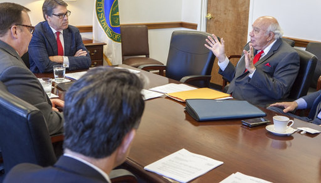 Robert Murray of Murray Energy, right, meets with Energy Secretary Rick Perry in Washington on March 29, 2017. (Dept. of Energy via AP)