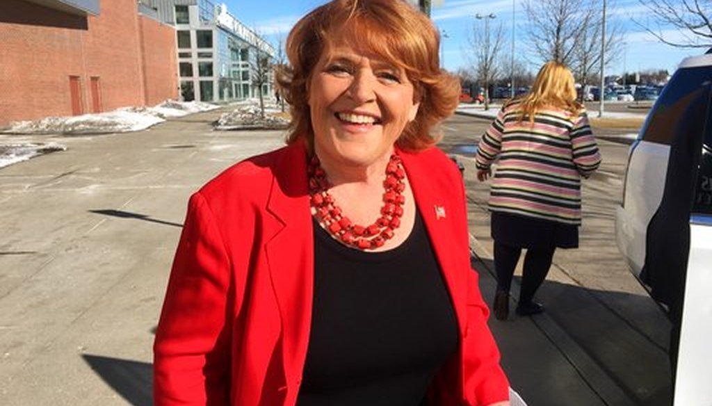 Sen. Heidi Heitkamp, D-N.D., arrives for the state Democratic party convention in Grand Forks, N.D., on March 17, 2018. (AP/James MacPherson)