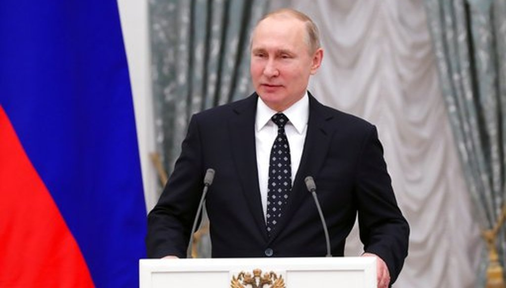 Russian President Vladimir Putin speaks at the Kremlin in Moscow, March 20, 2018. (Mikhail Klimentyev, Sputnik, Kremlin Pool Photo via AP).