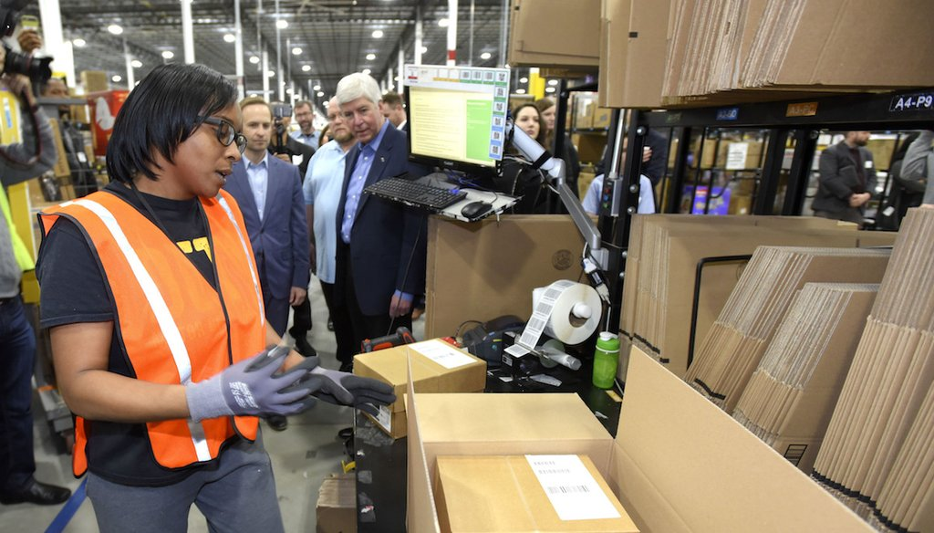 The opening of a new Amazon warehouse in Livonia, Mich., on March 23, 2018.