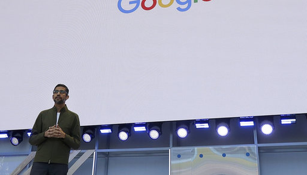 Google CEO Sundar Pichai speaks at the Google I/O conference in Mountain View, Calif. on May 8, 2018. (AP/Jeff Chiu)