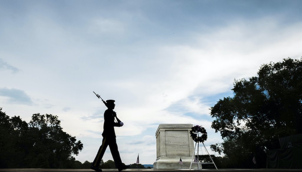A member of the U.S. Army 3rd Infantry Regiment walks his post in front of The Tomb of the Unknown Soldier in Arlington National Cemetery during the Memorial Day weekend in Arlington, Va., Sunday, May 27, 2018. (AP)