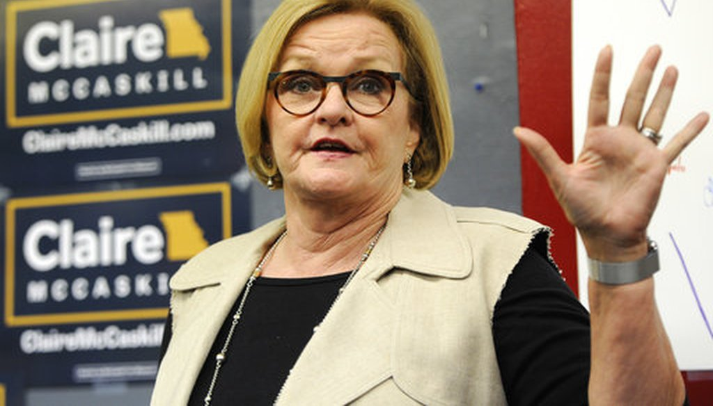 Sen. Claire McCaskill speaks to supporters at the opening of her campaign field office in Ferguson, Mo., on May 18, 2018 (AP/Bill Boyce)