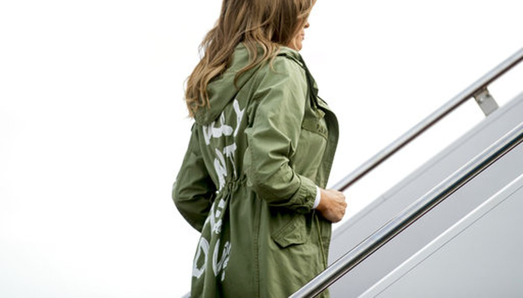 First lady Melania Trump boards a plane at Andrews Air Force Base, Md., Thursday, June 21, 2018, to travel to Texas. (AP/Andrew Harnik)