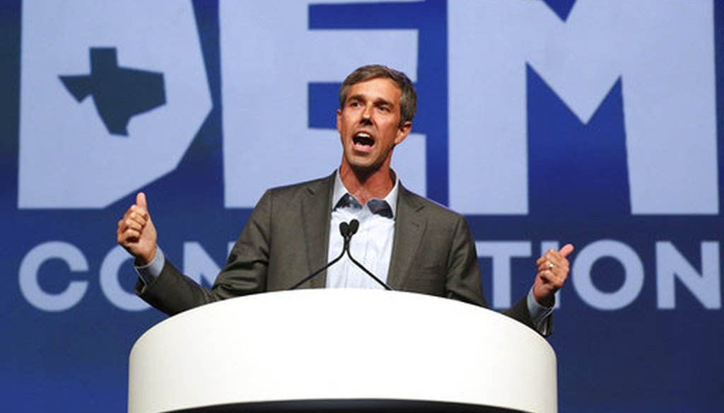 Beto O'Rourke speaks during the general session at the Texas Democratic Convention on June 22, 2018, in Fort Worth, Texas. (AP/Richard W. Rodriguez)