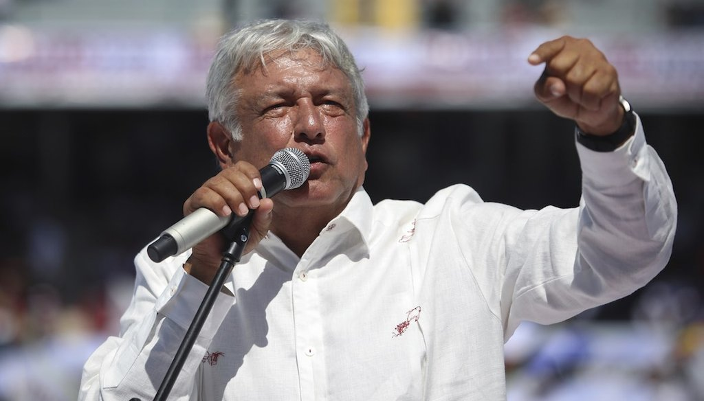 Mexico's presidential candidate Andrés Manuel López Obrador at a campaign rally on June 23, 2018.