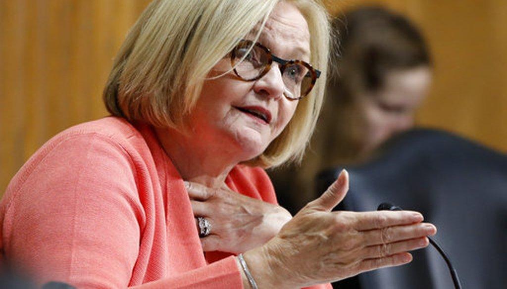 Sen. Claire McCaskill, D-Mo., asks a question at a Senate Finance Committee hearing. (AP/Jacquelyn Martin)