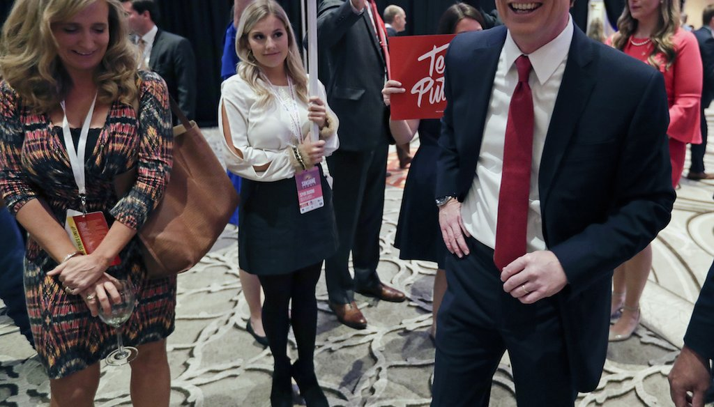 Agriculture Commissioner Adam Putnam, greets supporters after a Florida Republican gubernatorial primary debate at the Republican Sunshine Summit Thursday, June 28, 2018, in Kissimmee, Fla. (AP Photo/John Raoux)