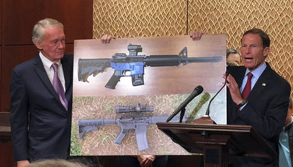 Sen. Edward Markey, D-Mass., and Sen. Richard Blumenthal, D-Ct., display a photo of a plastic gun on July 31, 2018, on Capitol Hill in Washington. (AP/Matthew Daly)