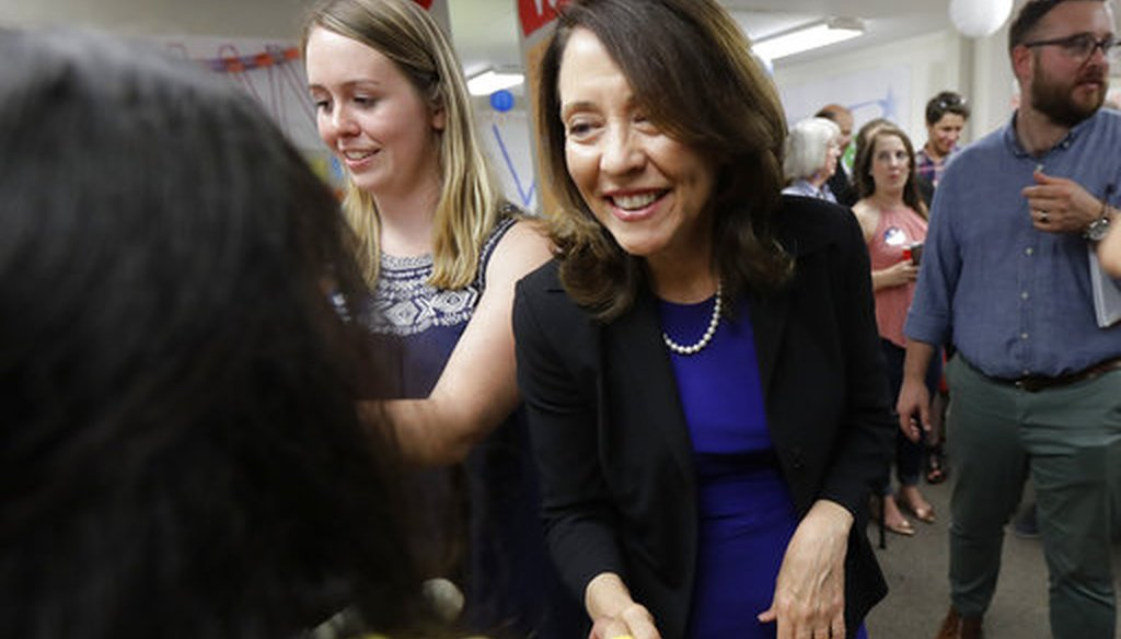 Sen. Maria Cantwell, D-Wash., greets a supporter, on Aug. 7, 2018. (AP)