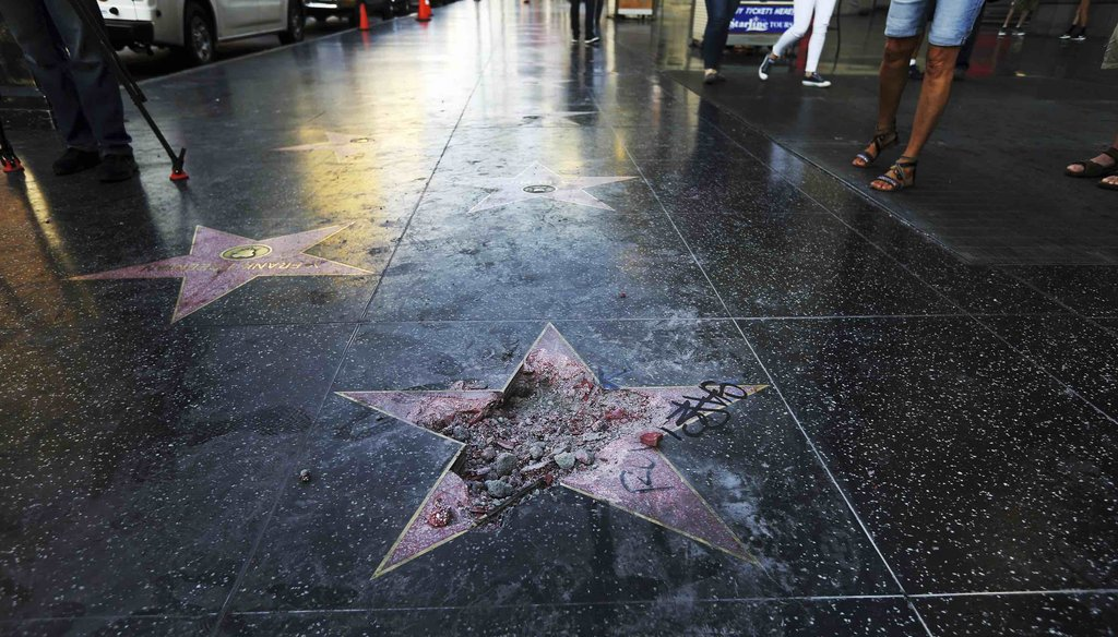 This photo July 25, 2018 file photo shows Donald Trump's star on the Hollywood Walk of Fame that was vandalized, in Los Angeles. (AP)