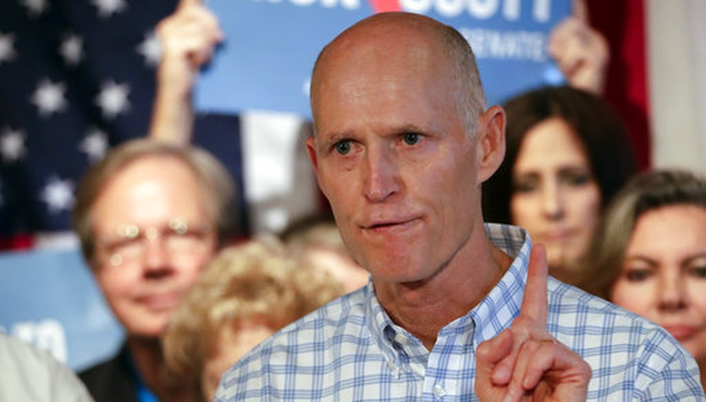 Florida Gov. Rick Scott speaks to supporters at Republican rally on Sept. 6, 2018, in Orlando. Scott is trying to unseat Democratic U.S. Sen. Bill Nelson. (AP/John Raoux)