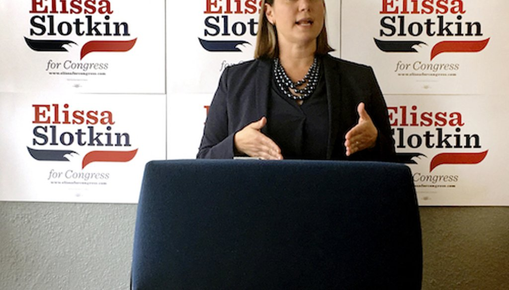 In this July 31, 2018, photo, Elissa Slotkin, a Democratic candidate for Congress from Michigan, speaks during a news conference at her campaign headquarters in Lansing, Mich. (AP)