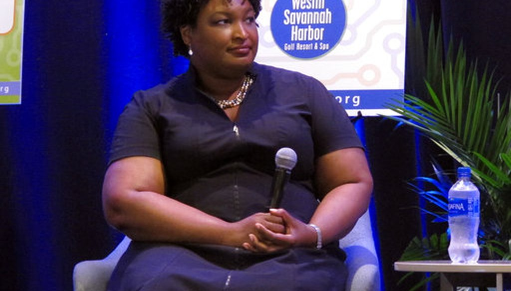 Stacey Abrams, the Democratic nominee for Georgia governor, answers questions Friday, Sept. 21, 2018, during an appearance at a conference of the Georgia Economic Developers Association in Savannah, Ga. (AP Photo/Russ Bynum)