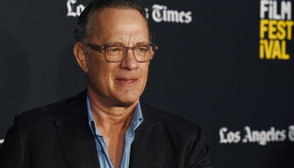 Tom Hanks at the 2018 Los Angeles Film Festival on Sept. 22, 2018. (AP)